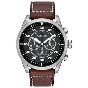 Citizen Eco-Drive Men's Avion Chronograph Brown Leather 45mm Watch CA4210-24E