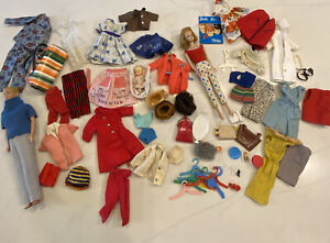 1960's Midge And Ken Barbie Dolls With Clothes Lot & Accessories