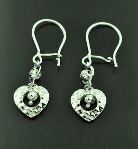 18k solid white gold stylish dangling earring heart diamond cut leverback #10170