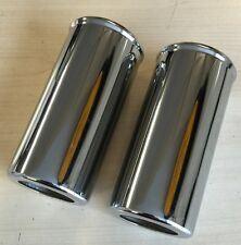 TRIUMPH NORTON BSA GIRLING TYPE SHOCK ABSORBER BOTTOM COVERS CHROME