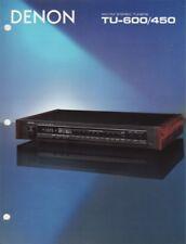 Denon TU-600, TU-450 Original Tuners Brochure 1986