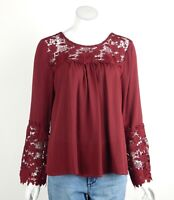 Joseph Ribkoff Sheer Tunic Top Blouse Floral Crochet Long Sleeves Size 10 New