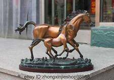 Western Decor Pure Bronze Color Marble Mother child Two horse Art Sculpture