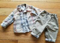 Authentic Baby Boys BURBERRY 2 pc Set Dress Shirt & Pants Outfit Sz 3 Mos