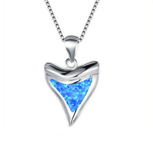 Fashion 925 Silver Shark tooth Blue Fire Opal Charm Pendant Necklace Chain