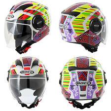 ROCC Jethelm 283 bunt Visier Sonnenblende Motorrad Roller Helm Jet Motorradhelm