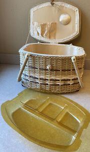 Vintage Double Handle Sewing Basket Box Satin Interior Cream Tan Woven Taiwan