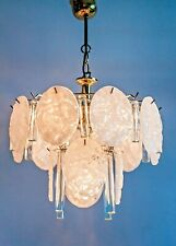 Extraordinary 1970s Pendant with mix of Rain Plates and Crystal Glass Cylinder