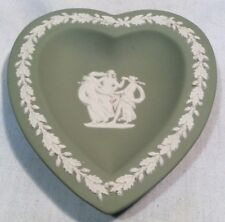 Lovely Collectable Wedgwood Green Jasper Ware Heart Shaped Pin/Trinket Dish