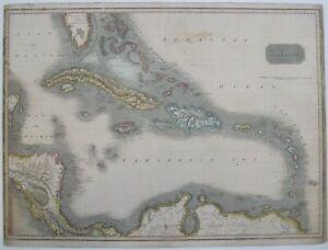 Original 1815 Thomas Clerk Map WEST INDIES Cuba Jamaica Florida Spanish Main