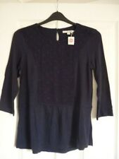 Boden Jessa Jersey Top Jacquard Panels in Navy UK 12 EUR 38-40 US 8 J0098