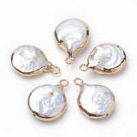 10x Flat Round Electroplate Natural Keshi Pearl Freshwater Pearl Pendants Charms