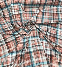 Silky Peach White Check print On Polyester Charmouse fabric Sold by the yard