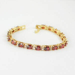Mexican Fire Opal and Diamonds Tennis Bracelet 14K Yellow Gold-Filled / Oval-Cut