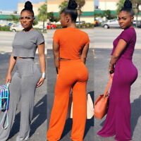 Women Fashion Round Neck Short Sleeve Solid Wide Leg Pants Jumpsuit Casual 2pcs