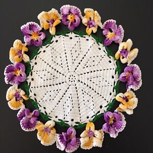 "9 1/2"" Vintage Hand Crochet Round Doily Doilie Natural White Purple Pansies"