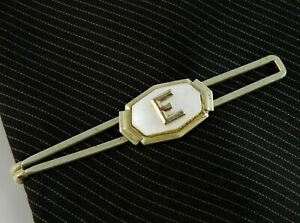 Art Deco Vintage Tie Bar Clip 1930s Letter E Initial White Mother of Pearl
