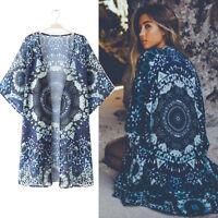 femme imprimé Boho Kimono en mousseline de soie en vrac Cardigan Chemisier été