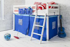 Cabin Bed Shorty Mid Sleeper in White with Blue Tent 2'6 in Ontario Kids WG