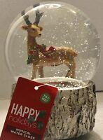 Rain Deer Buck Water Snow Globe Musical Snow Globe Wearing a Wreath on Neck NWT