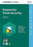 Kaspersky Total Security 2017 3 PC / User / Device / 1 Year / Global Licence