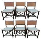 Authentic McGuire Rattan Directors Dining Chairs Six 6 Double Cane Back Rawhide