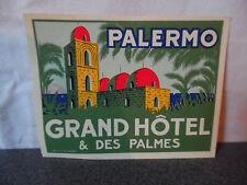 Rare Vintage Etiquette Valise Luggage label Palermo Grand Hotel & Des Palmes