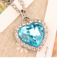 Titanic Blue Crystal Heart Silver Diamond Necklace