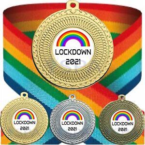 Personalised Rainbow Medal & Ribbon Lockdown 2021 Free Engraving Gold NHS Metal