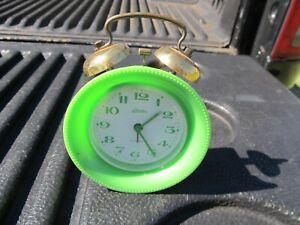 Vintage Linden Wind Up Alarm Clock Germany Made Green