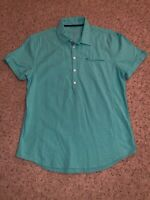 Guess Men's Shirt Teal Short Sleeve Slim Fit Coupe Serree Size Large EUC