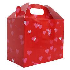 10 x RED LOVE HEART GABLE GIFT BOX - Valentine's Day Gift Hamper Picnic Box