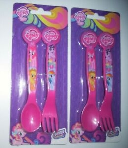 PLASTIC SPOON FORK x 2 CHILDS CUTLERY SET MY LITTLE PONY AVENGERS DESPICABLE ME