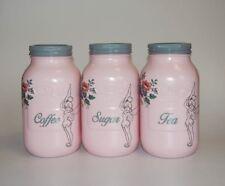 Pink Tinkerbell Kilner Storage Jars Large 1 Litre Tea Canister Set Handmade