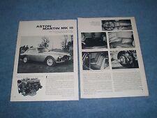 "1957 Aston Martin MK III Vintage Info Article ""Quite But Sound Improvements..."""