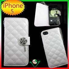Custodia BOOK GLAMOUR eco pelle per iPhone 5 5S SE Bianco portafoglio libretto