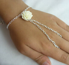 Silver Tone Hand Harness,Bracelet, Ring Armour, Slave Chain Cream Flower Charm