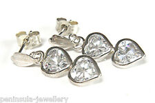 9ct White Gold CZ Heart Drop Earrings Gift Boxed Made in UK