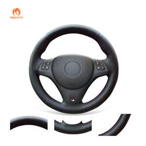 Black Leather Steering Wheel Cover for BMW M3 E90 E91 E92 E93 1 Series E87 E81