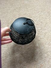 Black Metal Round Bird Suet Feeder with Lid and Chain. Can be Hung.