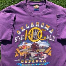 VTG 90s Purple Harley-Davidson Hanes Beefy Oklahoma SINGLE STITCH T Shirt L