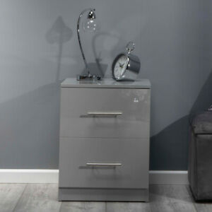 Grey ALL GLOSS 2 Drawer Bedside Chest Table. Premium Bedroom Gloss Furniture.
