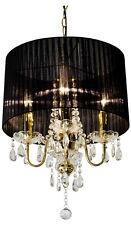 Crystal gouttelette gold lustre 4 lampes avec noir abat-jour, cristal plafonnier