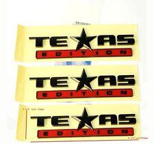 3x OEM Black Red TEXAS Edition Emblems BADGE Chevrolet SIERRA Silverado GM qYu