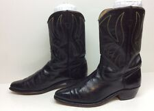 VTG WOMENS UNBRANDED SNIP TOE COWBOY LEATHER BLACK BOOTS SIZE ?