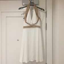 TFNC white jersey dress with gold trim UK size S