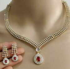 Indian Pakistan Bollywood American Diamond Red Necklace Earings Party Wedding
