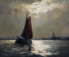 Original Ölgemälde Ölbild alt Romantik Impressionismus Meer See Stadt Landschaft
