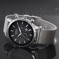 Norte Hombre Reloj Deportivo Fecha Cuarzo Acero Inoxidable Empresa Reloj