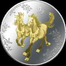 2014 Feng Shui - Horses 1 oz Coloured Silver proof Coin